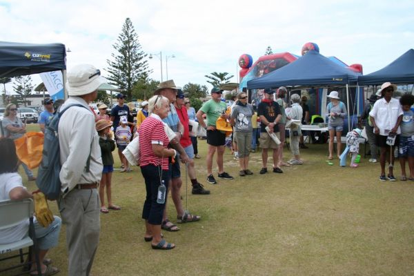 The annual WA Beach clean-up day event in Geraldton was well attended – here participants are receiving instructions prior to hitting the beaches with bags and gloves.