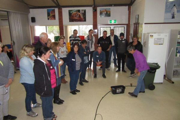 On a cold wet day, attendees of Geraldton's Native Garden workshop had to make do with an indoor demonstration of water-wise reticulation.