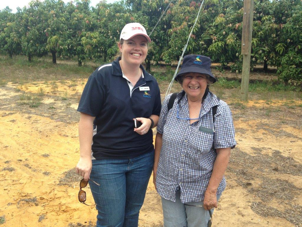 Sally Fenner with NACC Board Chair Jill Wilson at the Mango field day held last year.