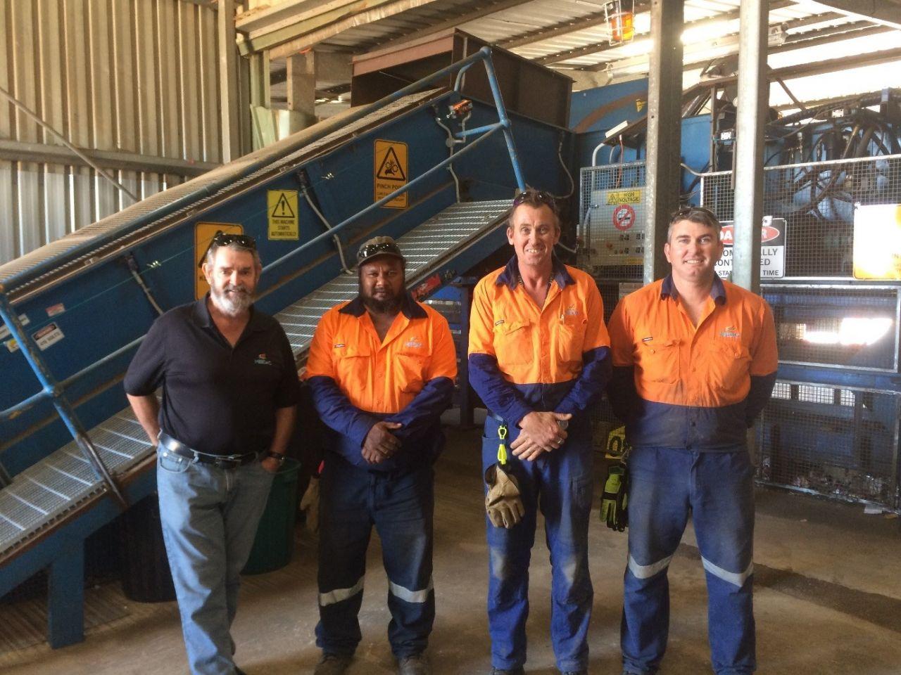 MEEDAC recycling team (left to right): Milton, Quentin, Richard and Matt.