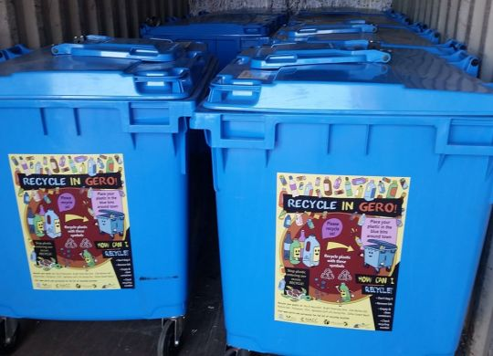 Bins with stickers