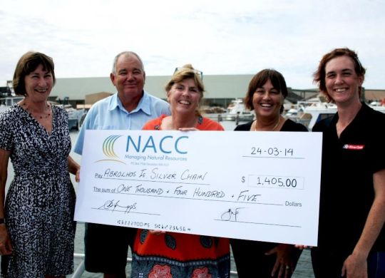 Left to right: NACC's Shelley Spriggs, Department of Fisheries Greg Finlay, project drivers Jenny Shaw and Leonie Noble, and Silver Chain's Amanda Murray