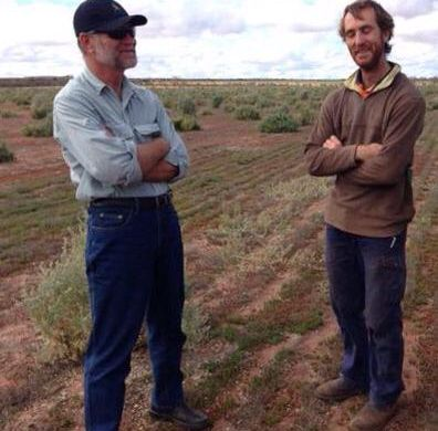 Richard with farmer, Geoff King