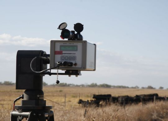 Open path laser measuring methane emissions from cattle at Irwin. Photo credit: Mingenew Irwin Group.