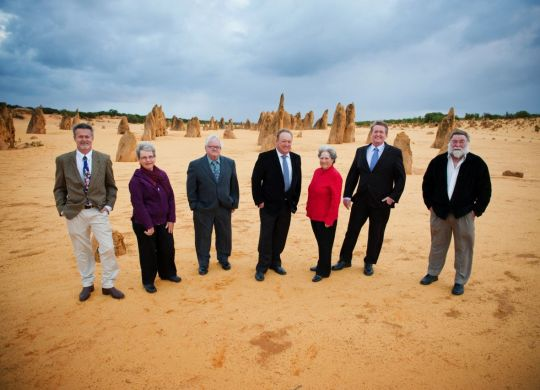 The NACC board of directors in front of the pinacles