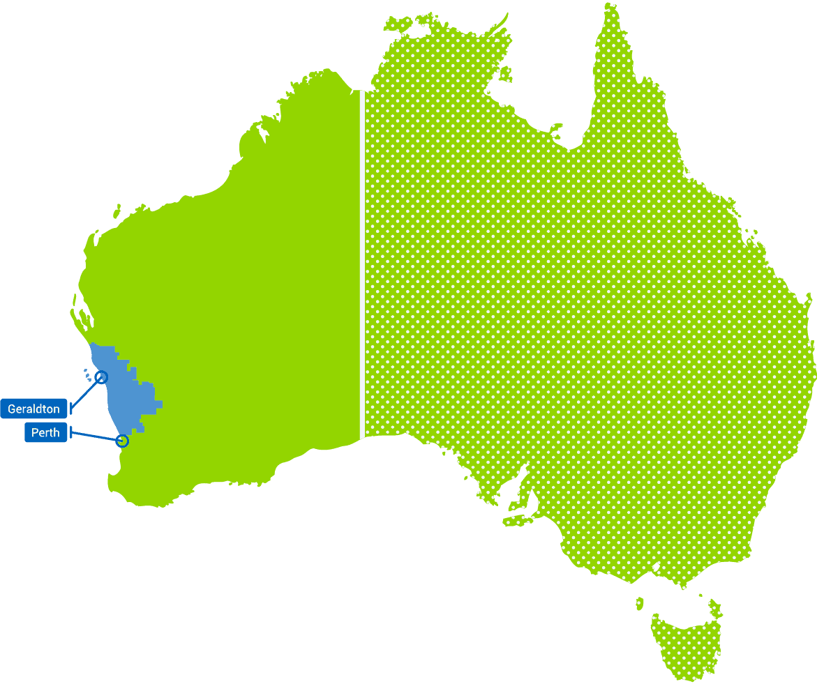 Northern Agricultural Region on map of Australia