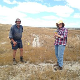 Kingsley and Christine Smith at a photo-monitoring site along the creek.