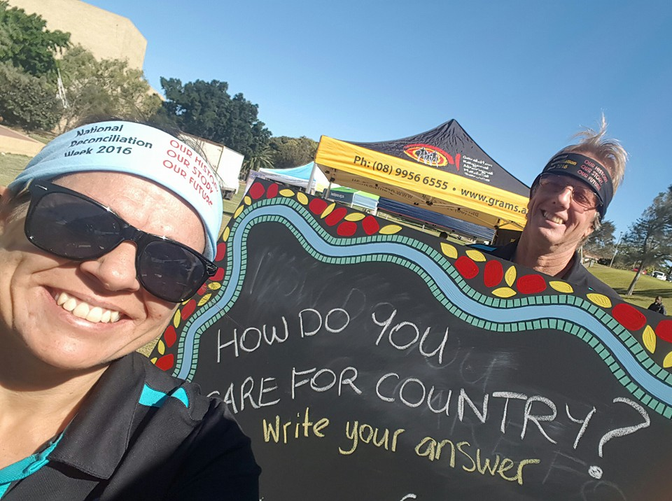 NACC's Aboriginal Participation team Bianca McNeair and Greg Burrows at the event.