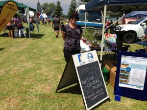 Bianca McNeair, NACCs Aboriginal Participation Officer, helping out on a coastal display at Larry Lobster festival in Port Denison.