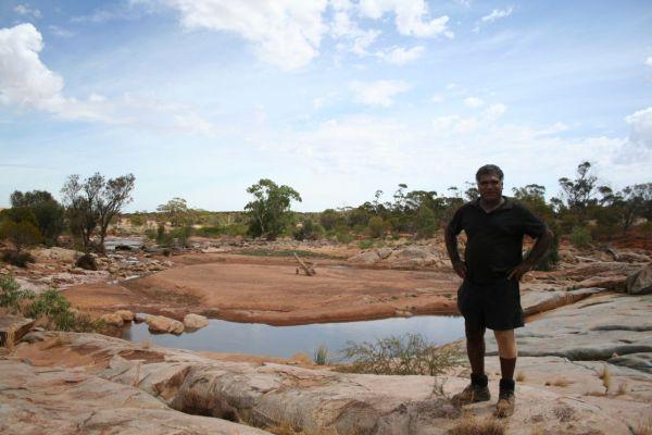 Leedham Papertalk from Bundibunna Aboriginal Corporation showcasing a waterhole on the farm, where he recently protected more than 3,000 ha of remnant bush.