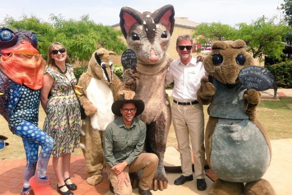 Australian Government's Threatened Species Commissioner (Gregory Andrews) with NACC CEO Richard McLellan, Wheatbelt NRM CEO Natarsha Woods and threatened animal mascots.