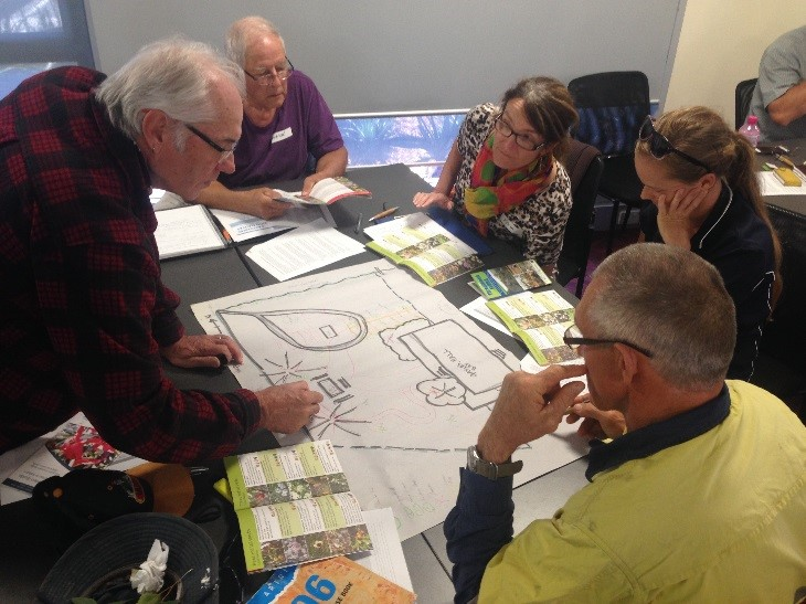 Designing a functional Coastal Native Garden was serious business for some at Geraldton.