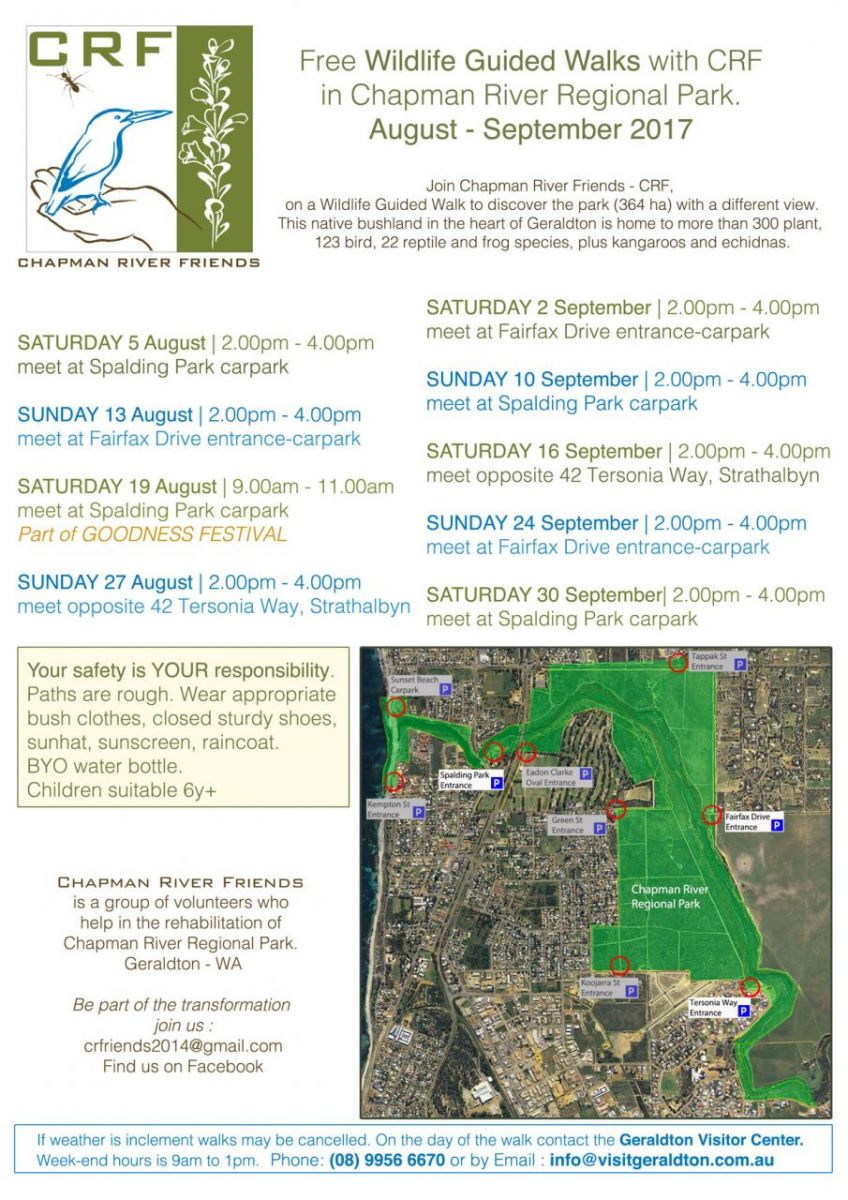Free Wildlife Guided Walks poster