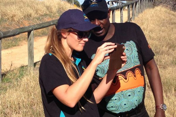 Photomon Project Officer Tegan Clarke with NACC's Regional Landcare Facilitator Stanley Yokwe during training