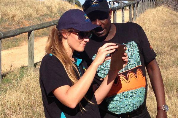 Photomon Project Officer Tegan Clarke with NACC's Regional Landcare Facilitator Stanley Yokwe during training