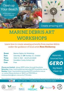 Marine Debris Art Workshop flyer 2017