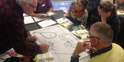 It was heads down during Julie Firths' coastal garden planning exercise at the Geraldton workshop.