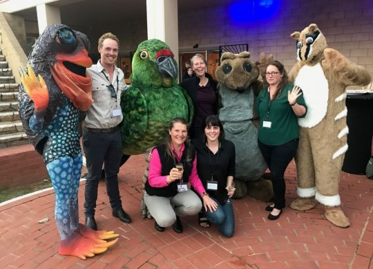 Bush Heritage Australia staff with the popular Forum mascots.