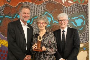 NACC CEO Richard McLellan with NRM Leadership award winner Paulina Wittwer and Bill Swetman from Central Regional TAFE.