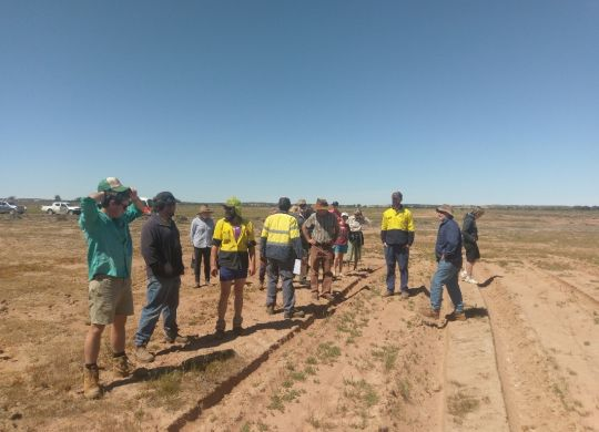 Farm tour participants visit a NACC-funded demonstration site, where they heard Ian Pullbrook discuss the native trees and shrubs planted on the site as fodder.