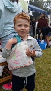 Oliver Todd with his Bendigo bag