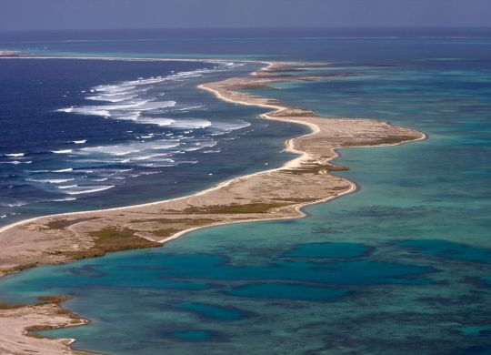 The biggest island of the Pelsaert Group of the Abrolhos Islands off Geraldton stretches towards the horizon.