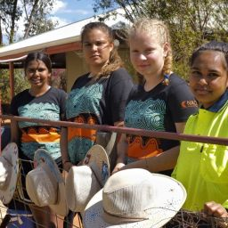 Clurrissa Kelly, Samara Martin, Monique Darcy and Jacklyn Kelly at the Eurardy Reserve homestead.