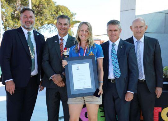 Emma Jackson with Mayor Shane Van Styn, Australia Day Ambassador Tim Britten, Ian Blayney MLA, and Laurie Graham MLC.