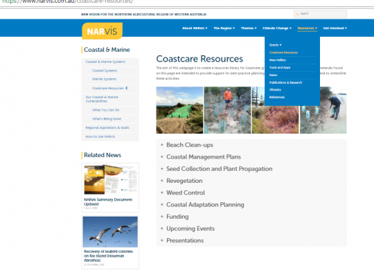 NARvis Coastal Resources page